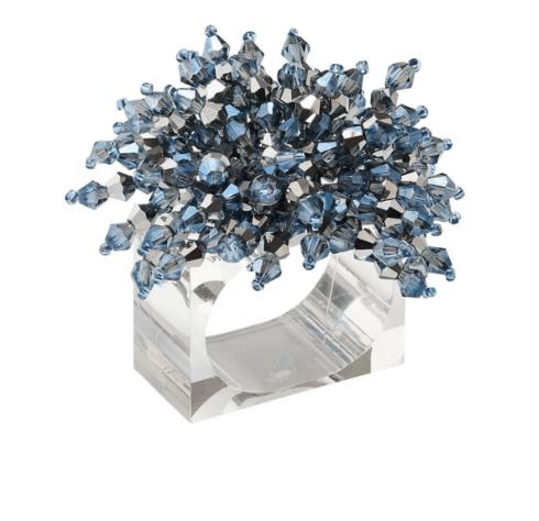 $120.00 Brilliant Napkin Ring in Midnight & Silver, Set of 4