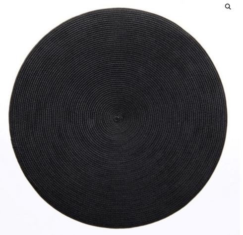"$20.00 15"" Round Placemat Black"
