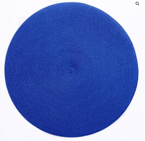 "$20.00 15"" Round Placemat Clementis Blue"