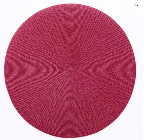 """$20.00 15"""" Round Placemat Cranberry"""