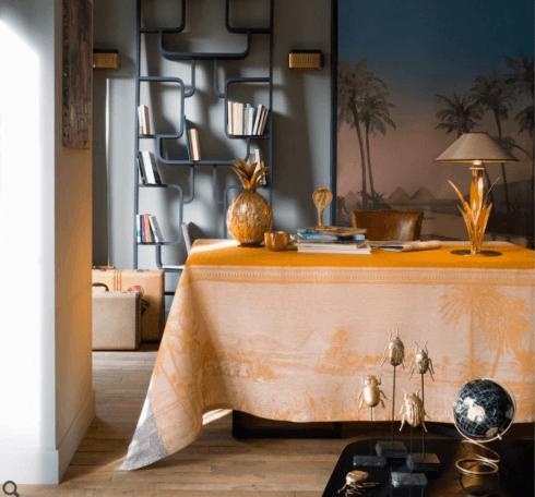 """$445.00 Le Jacquard Francais Tablecloth 69"""" x 98"""" Croisière sur le Nil Desert"""