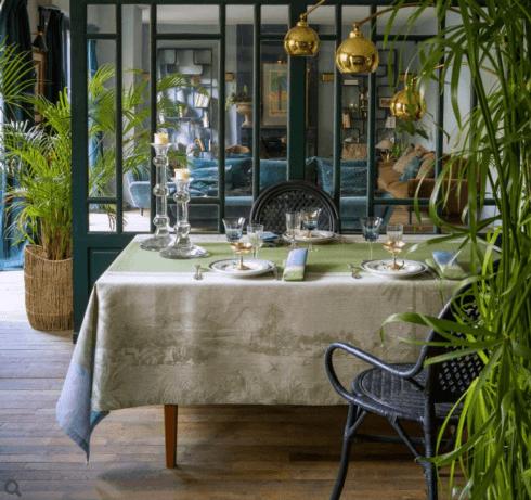 """$445.00 Le Jacquard Francais Tablecloth 69"""" x 98"""" Croisière sur le Nil Palm"""