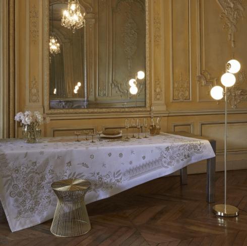 """$475.00 Le Jacquard Francais Tablecloth 69"""" x 98 Haute Couture - Gold"""