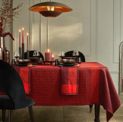 """$445.00 Le Jacquard Français Tablecloth 69"""" x 98"""" Ottomane Burgundy"""