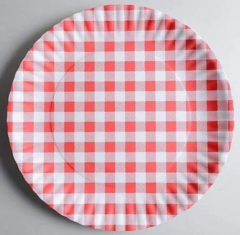 "$25.00 Red Gingham Paper Plates Melamine 9"" Plate by One Hundred 80 Degrees - Set of 4"