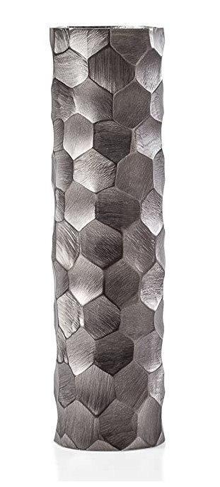"""$117.00 Linus Chiseled 12.5h"""" Brushed Cylinder Vase - Graphite"""