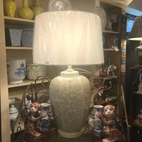 Beige Floral Lamp with Brass Finial