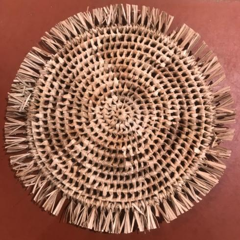 Woven Straw Place Mats with Fringe