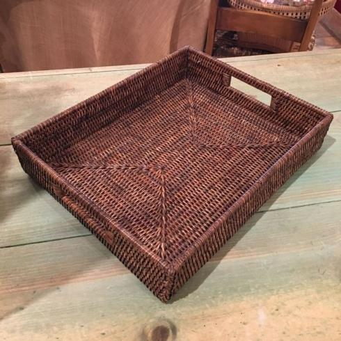 $110.00 Medium Rattan Tray. Brown