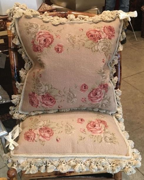 $625.00 Vintage Decorative French Floral Needlepoint Woven Tassel Pillow