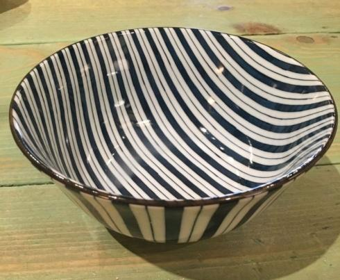 Blue and White Japanese Striped Bowl. collection with 1 products