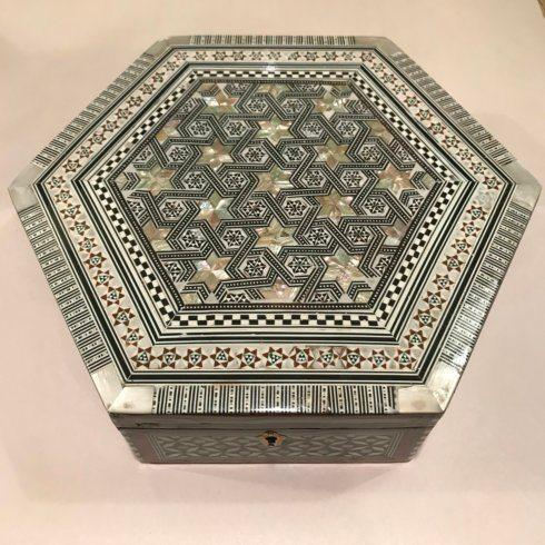 $190.00 Hexagon Mother of Pearl Inlay Box