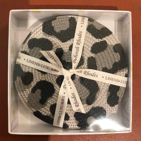 Black and Grey Set of 4 Cheetah Coasters collection with 1 products