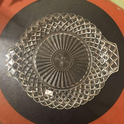 $190.00 Cut Glass Tray/Platter with Handles