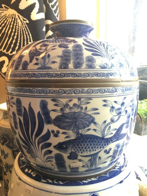 River Porcelain Large Lidded Bowl.  collection with 1 products