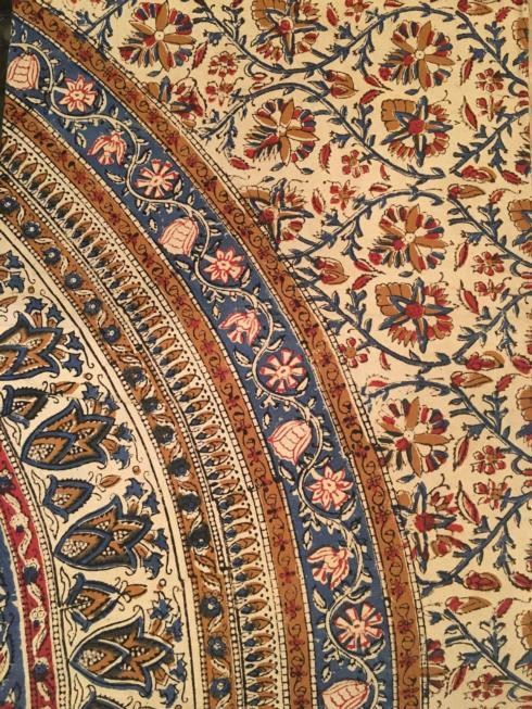 $47.50 Indian Throw/Tablecloth Kalamkari Circle Blue/ Brown
