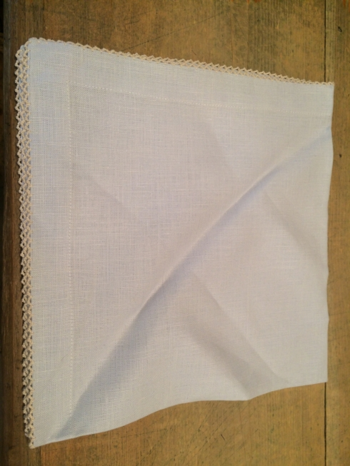 Pale Blue Linen, Hand Crocheted Edge Napkin collection with 1 products