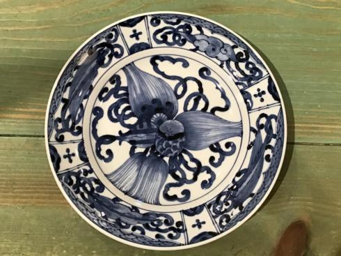 $25.00 Lotus Blue and White Japanese Plate