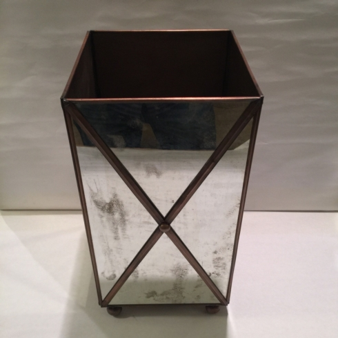 $225.00 Crossed Mirror Wastebasket