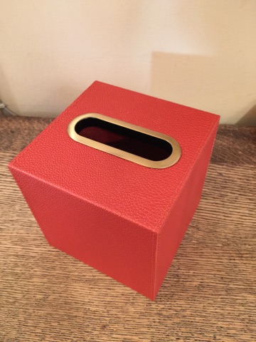 William-Wayne & Co. Exclusives   Red Faux Leather Boutique Tissue Box $75.00