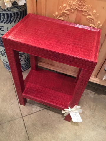 $1,200.00 Red Leather Side Table