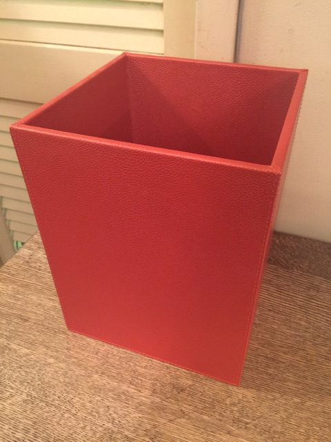William-Wayne & Co. Exclusives   Red Faux Leather Wastebasket $140.00