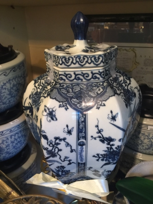 William-Wayne & Co. Exclusives   Blue and White Hand Painted Poercelain Jar $350.00