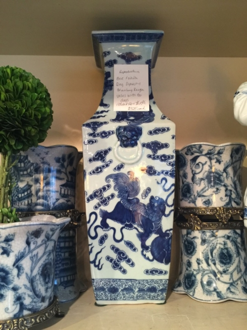 William-Wayne & Co. Exclusives   Blue and White Qing Dynasty Vase with Foo Dogs $325.00