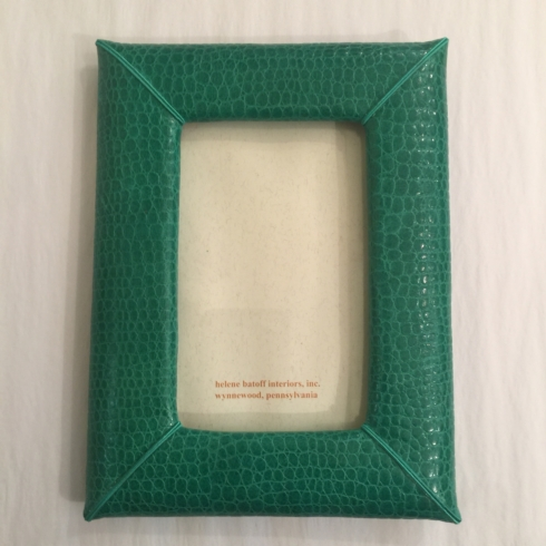 William-Wayne & Co. Exclusives   4 x 6 Green Leather Frame $110.00