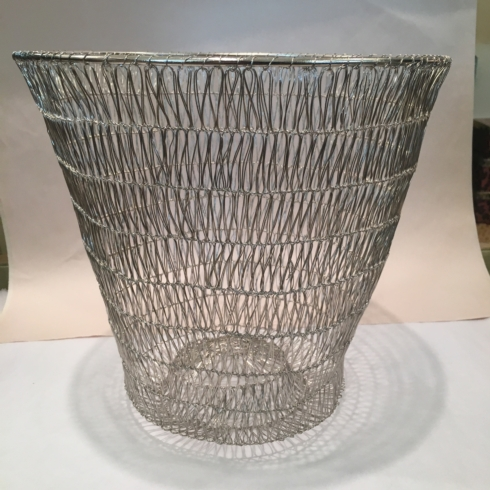 $80.00 Small Silver Wired Wastebasket