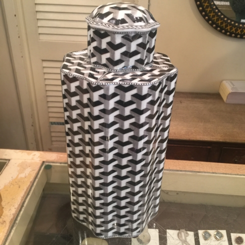 William-Wayne & Co. Exclusives   Black and White Geometric Covered Jar $450.00