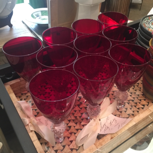 Vintage Set of 10 Ruby Glasses C. 1920 collection with 1 products
