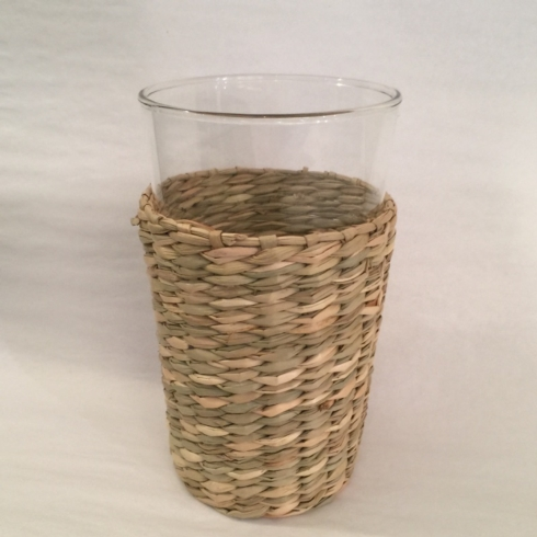 $16.50 Clear Glass with Rattan Holder