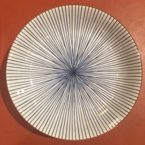William-Wayne & Co. Exclusives   Blue and White Striped Shallow Bowl $18.75