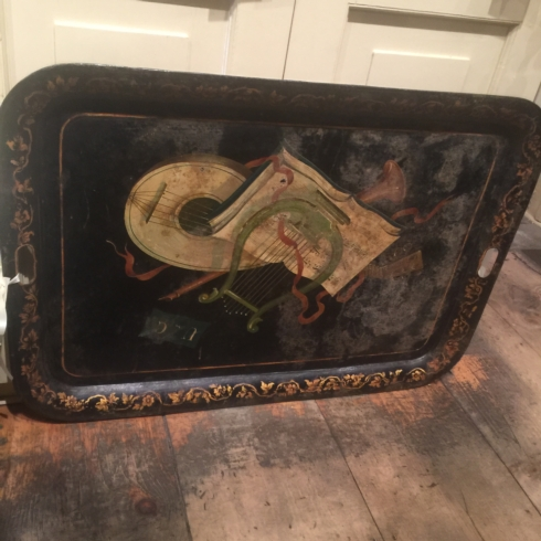William-Wayne & Co. Exclusives   Antique Large Hand Painted Tole Tray C. 1850 $650.00