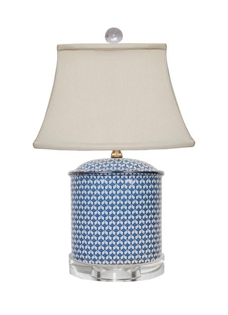 William-Wayne & Co. Exclusives   Blue and White English Oval Lamp $250.00
