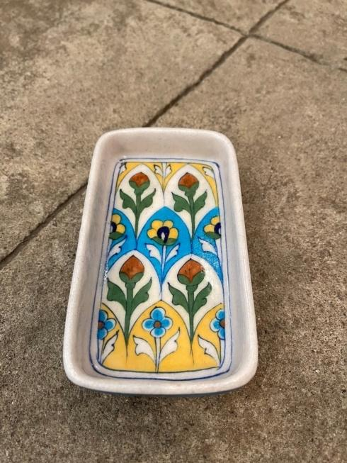 $37.50 Floral Yellow/Blue Soap Dish