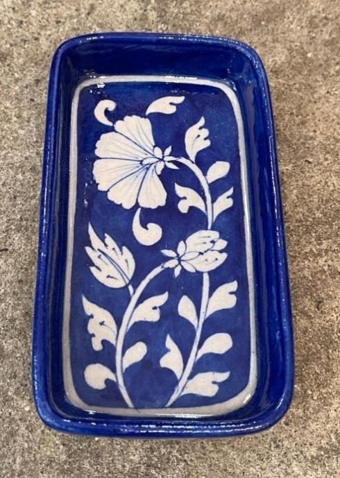 $37.50 Floral Indigo Blue Soap Dish