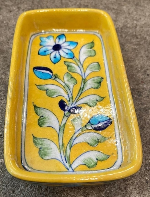 $37.50 Floral Yellow Soap Dish
