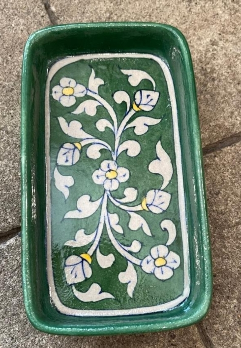 $37.50 Floral Green Soap Dish