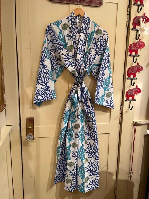 $115.00 Blue Coral Cotton Robe