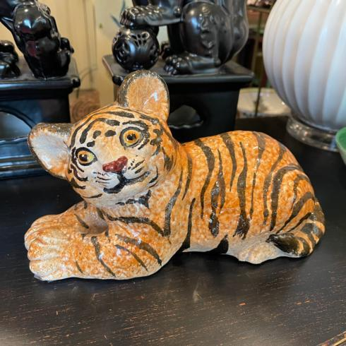 Vintage Ceramic Tiger Cub Hand Painted in Italy