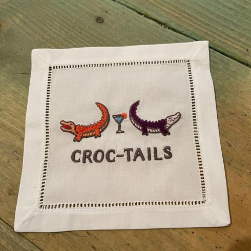 $10.75 Croc-Tails embroidered cocktail napkin