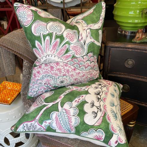 $395.00 Green and Pink Floral Pillow