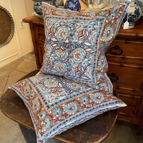 $175.00 Blue and Brown Paisley Cotton Single Pillow