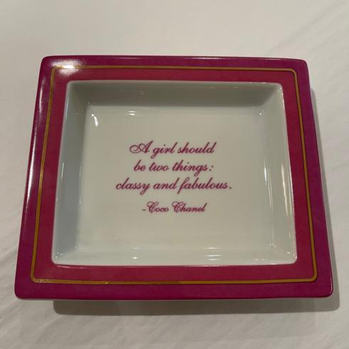 Pink Ceramic Catchall Tray with Quote