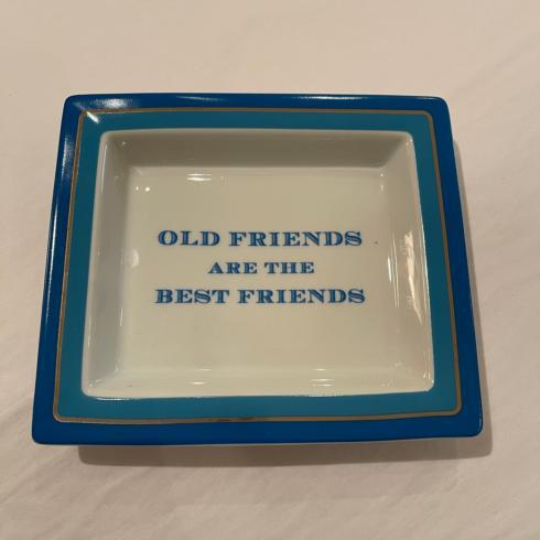 Blue Ceramic Catchall Tray with Quote