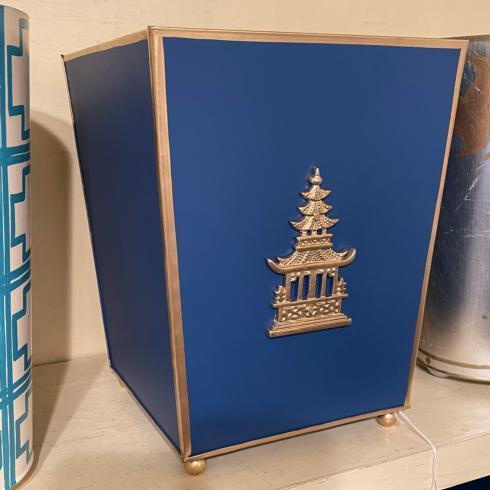 Pagoda Hand Painted Waste Basket