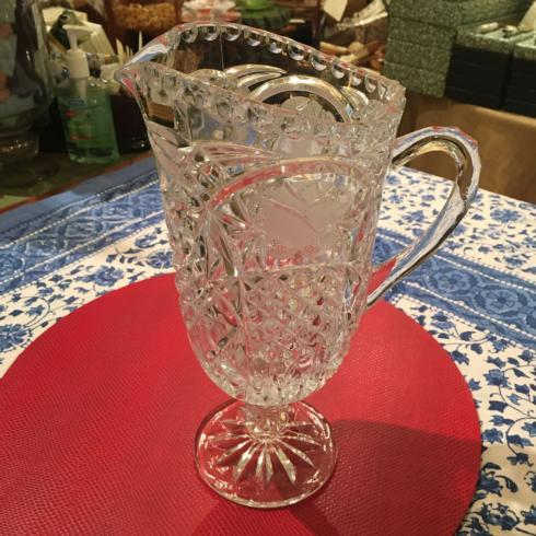 Vintage Pedestal Cut Crystal Pitcher Made in Germany