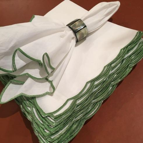 $22.50 Scalloped Edge Napkin. Green